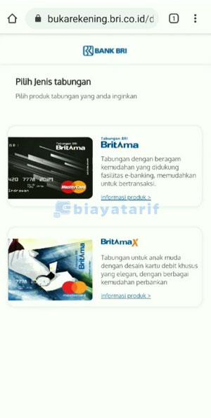 Pilih kartu ATM BRI
