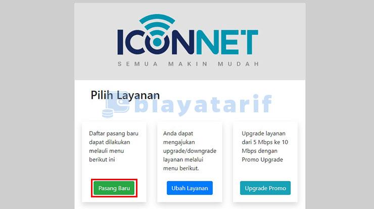 Pilih Pasang Baru Iconnect